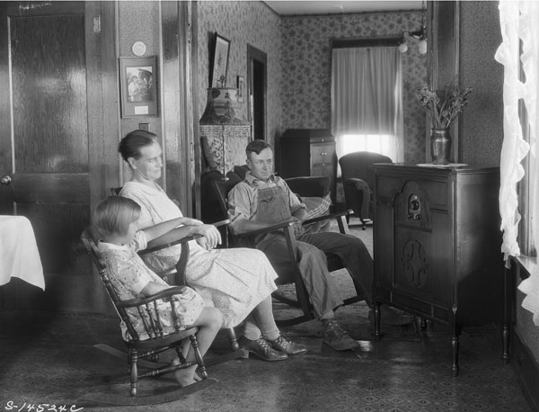 'Farm Family Listening to Their Radio.' (Photo Credit: George W. Ackerman, August 15, 1930 National Archives and Records Administration, Records of the Extension Service)