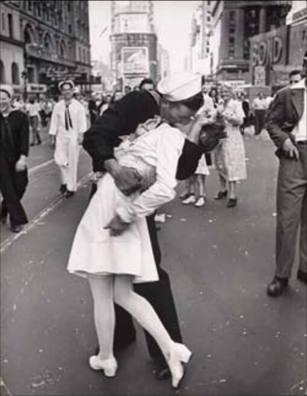 'V-J Day in Times Square,' is one of Eisenstaedt's most famous photographs. The image was made August 14, 1945 in Times Square, New York City. (Photo Credit: Alfred Eisenstaedt, via Life Magazine)